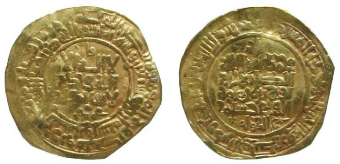 Ancient Coins - 302CFF) Samanid, Nuh II ibn Mansur I, 365-387 AH / 976-997 AD, gold dinar, 25.5 mm, 5.32 grms, struck at Nishapur in 374 AH, nice ornamental devices on rev. type of Album # 1468, i