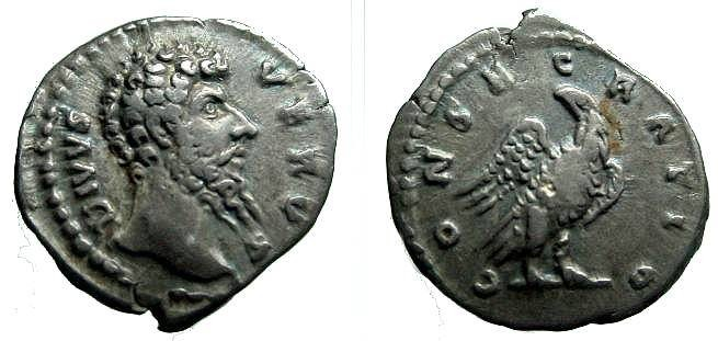Ancient Coins - 867GM) LUCIUS VERUS, 161-169 AD, AR DENARIUS, 17 X 19 MM, 3.32 GRMS, ISSUED AFTER HIS DEATH, Obv. DIVVS VERVS, Rev. CONSECRATIO, EAGLE STANDING FRONT ON BAR, VF COND.