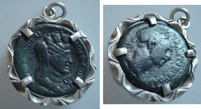 Ancient Coins - 3JWL) TRAJAN 98-117 AD, ROMAN PROVINCIAL BRONZE 9PROBABLY FROM SYRIA) WITH TYCHE REV. SET IN STERLING SILVER BEZEL PENDANT, TOTAL WEIGHT 18.71 GRMS. COIN IS AUTHENTIC.