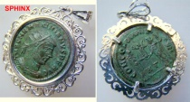 Ancient Coins - 280CK3) MAXIMIANUS, AD 286-305, AE ANTONINIANUS, CONCORDIA MILITVM REVERSE. IN VF+ CONDITION, NICELY PATINATED IN DARK GREEN. SET IN A STERLING SILVER BEZEL STAMPED 925, FILIGREE
