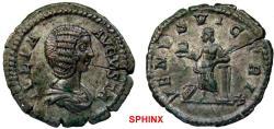 Ancient Coins - 870GL17) Julia Domna. Augusta, AD 193-217. AR Denarius (20 mm, 3.22 g). Rome mint. Struck under Septimius Severus, circa AD 207-211. Draped bust right / Venus Victrix standing left