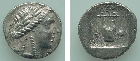 Ancient Coins - 421GREEK) OLYMPOS in the Lycian League AR Drachm 2.91 gr spec.gravity 10.21; 168 BC ff. Laureate head of Apollo right , with two braids at neck, Rv., lyre BETWEEN TORCH AND SHIELD,
