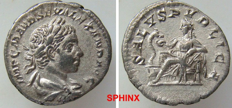 Ancient Coins - 489GF4) Severus Alexander. AD 222-235. AR Denarius (18.5 mm, 2.63 g, 6h). Rome mint. 2nd emission, AD 222. Laureate, draped, and cuirassed bust right / Salus seated left, VF+