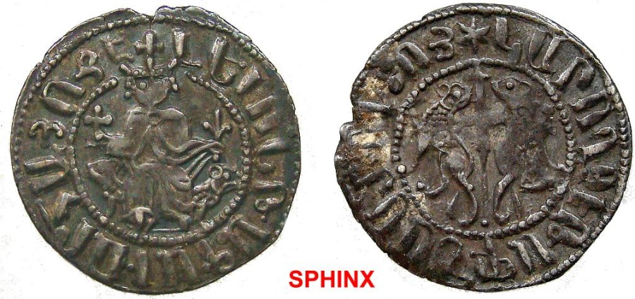 World Coins - 45GC17) ARMENIA, Cilician Armenia. Royal. Levon I. 1198-1219. AR Tram (22.5 mm, 2.94 g). Levon seated facing on throne decorated   with lions, holding cross and lis, VF