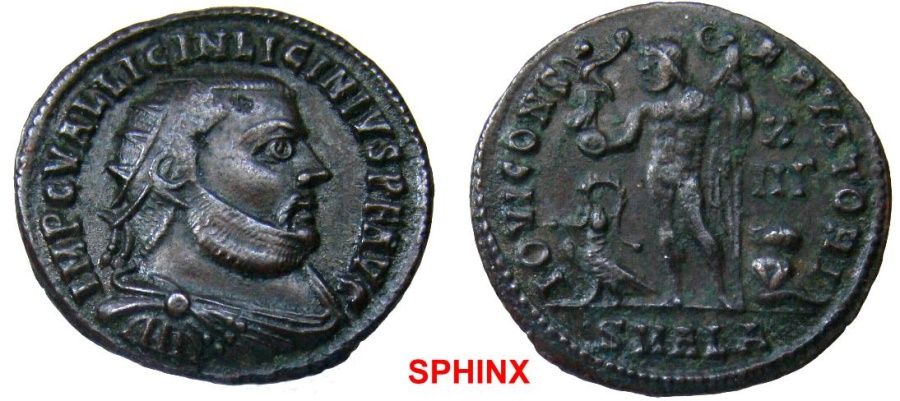 Ancient Coins - 45RM6) Licinius I. AD 308-324. Æ Follis (20 mm, 3.01 g, 12h). Alexandria mint, 1st officina. Struck AD 321-324. Radiate, draped, and cuirassed bust right / Jupiter standing left,