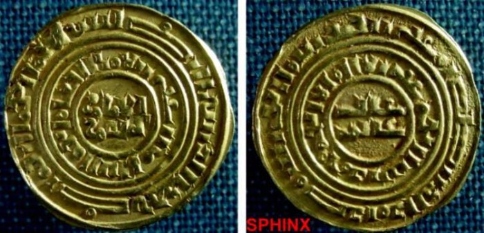 Ancient Coins - 773RBE8) CRUSADERS, Latin Kingdom of Jerusalem. 1148/59-1260. AV Bezant (22 mm, 3.72 grms) of fine gold content. Imitating the dinar of Fatimid Caliph al-Amir. Acre mint. Second Ph