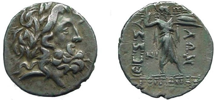 Ancient Coins - 529HE)Thessaly, Thessalian league, 196-146 BC, AR stater (20 mm, 6.09 grms) bearded head of zeus right, wearing laurel wreath / Athena Itonia standing right brandishing spear in ri