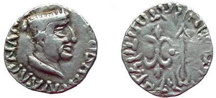 Ancient Coins - 556EE) INDO-PARTHIAN GOVERNORS OF SAURASHTRA, NAHAPANA, CIRCA 105-124/5 AD, AR DRACHM, 2.12 GRAMS, DIADEMED BUST RIGHT, WITH GREEK LEGEND AROUND, REV ARROW AND THUNDERBOLT; VF