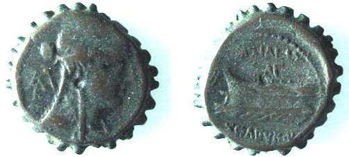 Ancient Coins - 612GREEK) SYRIA, SELEUCUS IV PHILOPATOR, 187-175 BC, AE 20 MM, 7.65 GRAMS, SERRATED EDGE, BUST OF QUEEN RIGHT, WITH MONOGRAM BEHIND, REV FOREPART OF GALLEY LEFT, HEAD P. 762 FINE+