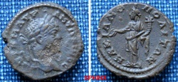 Ancient Coins - 438RM00) MOESIA INFERIOR, Marcianopolis. Elagabalus. AD 218-222. Æ (18mm, 2.84 g, 1h). Laureate head right / Concordia standing left holding cornucopea and patera. VF, dark green p