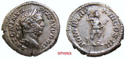 Ancient Coins - 279FR0Z) Caracalla. AD 198-217. AR Denarius (19.5 mm, 3.75 grms). Rome mint. Struck AD 207. Laureate head right, with youthful features /Mars (Virtus) standing half-right, EF toned