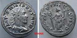 Ancient Coins - 34RR21) PHILIP I. 244-249 AD. AR Antoninianus (4.74 gm). Struck 247 AD.  IMP PHILIPPVS AVG, laureate, draped, and cuirassed bust right / P M TR P IIII COS II P P, Felicitas VF