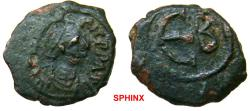 Ancient Coins - 337RR1) Maurice Tiberius. 582-602. � Pentanummium (15 mm, 1.93 g, 6h). Constantinople mint. Diademed, draped, and cuirassed bust right / Large Є; B to right. DOC -; MIBE 74c; SB 50