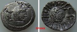 Ancient Coins - 339FC9X) ARABIA FELIX, Himyarites & Sabaeans. 'Mdn Byn(?). Mid-late 1st century AD. AR Unit (15 mm, 1.64 grms). RYDN (Raidan?) mint. Head right; monogram to left / Head right; 'sce