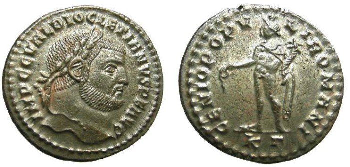 Ancient Coins - 822GM) Diocletian, AE Large Follis, 27x28 MM,  9.82 GRMS, 297-299 AD, Obv. IMP C C VAL DIOCLETIANVS P F AVG;IN VF+ COND, FULLY SILVERED AND TONED.