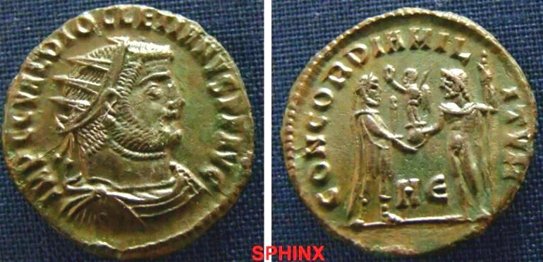 Ancient Coins - 124ER0) Diocletian. 284-305 AD. AE Post reform radiate (20 mm, 3.27 g). IMP C C VAL DIOCLETIANVS P F AVG - Radiate bust right, draped / CONCORDIA MILITVM - Jupiter presents Victory