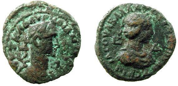 Ancient Coins - 64CK) Vabalathus &  Aurelian, 271-272 AD. Alexandrian potin tetradrachm. 8.12 GRMS, 19 MM, OBV. Head of Aurelian right, REV. Head of Vabalathus right  L D = year 4; Milne-4311, VF