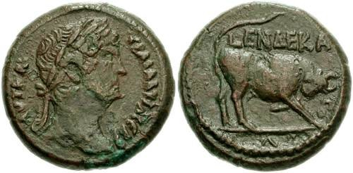 Ancient Coins - 119CGR) EGYPT, Alexandria. Hadrian. 117-138 AD. Æ Diobol (23mm, 9.37 gm). Dated RY 11 (126/7 AD). Laureate head right / Bull butting right; L ENDEKA-TO-V (date) around. Köln 977; D
