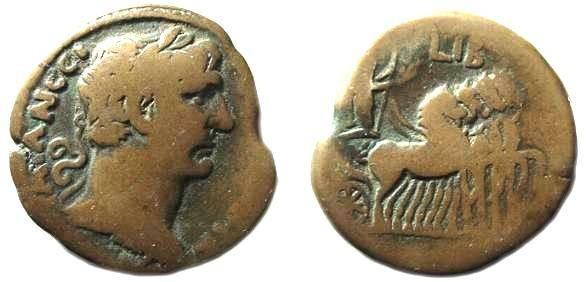 Ancient Coins - 605ROM) ROMAN EGYPT, TRAJAN, 98-117 AD, AE DRACHM, 20.06 GRAMS, 35 MM, REV EMPEROR IN 4 HORSES QUADRIGUA RIGHT, DATED YEAR LIB = YEAR 12 = 108/109 AD, SIMILAR TO SNG COP. # 251 (DA