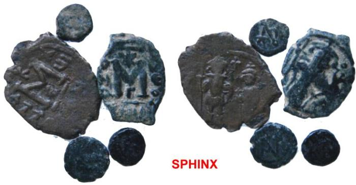 Ancient Coins - 327RR1) STUDY GROUP OF 5 BYZANTINE BRONZES; INTERESTING TYPES WITH 3 VERY SMALL MODULES.
