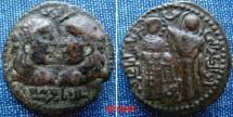World Coins - 901MM1) ARTUQIDS OF MARDIN, NAJM AL-DIN ALPI, 547-572 AH / 1152-1176 AH, AE DIRHAM, 32 MM, 15.73 GMS, OBV. TWO LONG HAIRED BUSTS FACING, REV. REPRESENTATION OF THE VIRGIN CROWNING