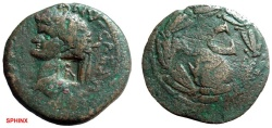 Ancient Coins - 38CK) SELEUCIS AND PIERIA : ANTIOCH, DOMITIAN 81-96 AD, AE 28.5 MM, 10.72 GRMS, OBV. LAUREATE HEAD LEFT, COUNTERMARKED ATHENA STANDING RIGHT; REV. SC WITHIN LAUREL WREATH, FINE