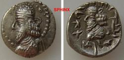 Ancient Coins - 864GL7Z) KINGS of PERSIS. Napād (Kapat). 1st century AD. AR Hemidrachm (14 mm, 1.81 g). Bearded bust left, wearing diadem and Parthian-style tiara with two rows of pellets around