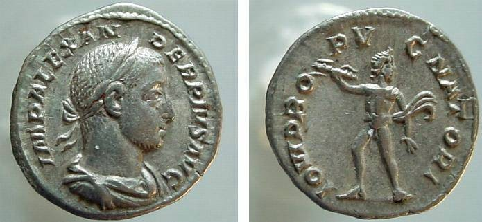 Ancient Coins - 1232HB) SEVERUS ALEXANDER, 222-235 AD, AR DENARIUS, ROME, 19 MM, 2.69 GRAMS, RSC 76, RIC 235, IN SUPERB XF CONDITION.