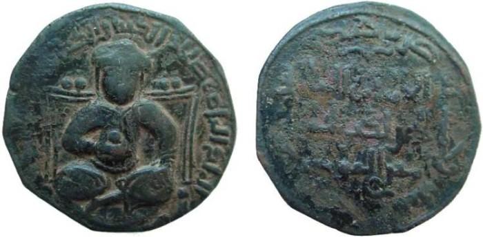 Ancient Coins - 1222RF) SALADIN (AL-NASER SALAH AL-DIN YUSUF IBN AYYUB) 564-589 AH / 1169-1193 AD, AE DIRHAM, 28.5 MM, 11.19 GRMS (LARGE MODULE),  MESOPOTAMIAN STYLE, STRUCK  586 AH,TURBANED SULTA