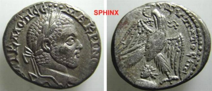 """Ancient Coins - 414CKG9) SYRO-PHOENICIAN COINAGE, MACRINUS, 217-218 AD, AR TETRADRACHM, 11.6 GRMS, 22.5 X 26.5 MM, STRUCK AT EMESA, OFFICINA """" A """", BUST OF SHAMASH LEFT BETWEEN EAGLE'S LEGS,VF"""