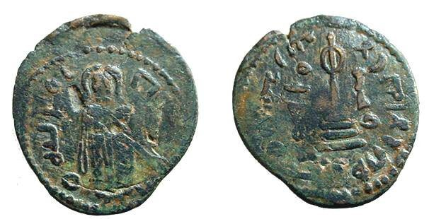 Ancient Coins - 438CBF) ARAB-BYZANTINE, AE FALS STANDING CALIPH TYPE, CROSS ON STEPS REVERSE, CIRCA 693-697 AD, OF MA'ARAT. SICA I : 674-678, IN VF CONDITION WITH GREEN BROWN PATINA. VF+
