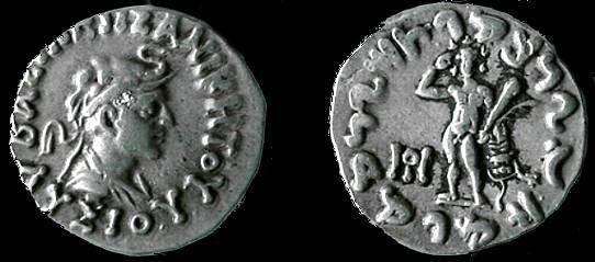 Ancient Coins - 100GPB) BACTRIAN/ INDO-GREEK, LYSIAS, CIRCA 145 TO 135 BC, AR BILINGUAL DRACHM, 2.43 GRAMS, LEGEND LISIASA  REVERSE MONOGRAM OF PUSHKALAVATI K WORKSHOP, MITCHINER MIG vol 2, TYPE #