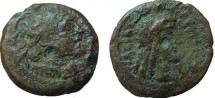 Ancient Coins - 193GH98) PTOLEMAIC KINGS of EGYPT. Ptolemy V Epiphanes. 205-180 BC. Æ Chalkous (15.5 mm,2.61 g). Kyrene mint. Struck 204 BC. Diademed bust of Ptolemy I right, wearing aegis / Drape