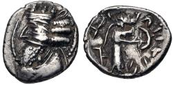 Ancient Coins - 175GF19) KINGS of PERSIS. Nambed (Namopat). 1st century AD. AR Hemidrachm (15mm, 1.83 g, 3h). Istakhr (Persepolis) mint. Diademed and draped bust left, wearing mural crown / Nambed