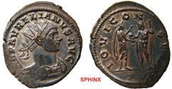 Ancient Coins - 89FB0Z) Aurelian (270-275 AD), AE Antoninianus, 24.5 mm, 4.89 grms, Siscia mint; Obverse: IMP AVRELIANVS AVG, Radiate, cuirassed bust right. Reverse: IOVI CONSER, Emperor standing