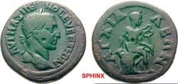 Ancient Coins - 9AK8FM) THRACE Anchialos Maximinus I AD 235-238. Bronze (AE; 24-25mm; 10.63g; 2h) AVT MAΞIMEI- NOC EVE EBHCI AVP (partly ligate)   Laureate head of Maximinus to right. RARE