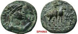 Ancient Coins - 535KE4) INDIA. Kushans. Soter Megas. Circa 2nd Century AD. AE Tetradrachm (21 mm, 8.37 gm). Radiate, diademed, and draped bust right, holding sceptre; tamga before / King riding VF