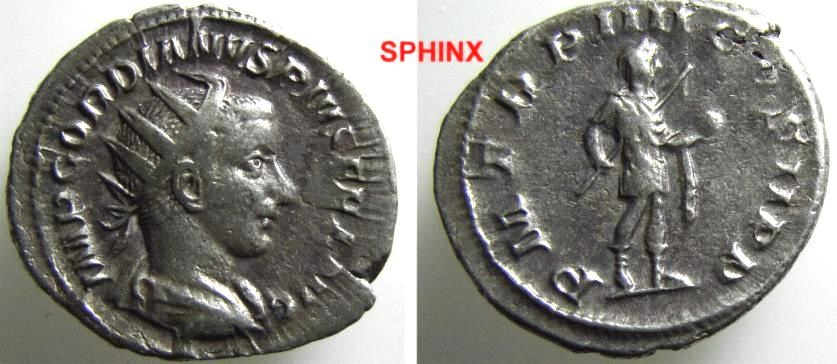Ancient Coins - 757GM8) GORDIAN III, 238-244 AD, AR ANTONINIANUS, RSC- 253, RIC 92, IN NICE VF/XF CONDITION, GOOD METAL.