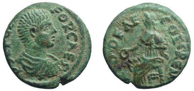 Ancient Coins - 115CK) Pisidia, Cremna, Asia Minor, Geta, 209 - 211 A.D, AE 18.5, 5.18 grms, Cremna mint, P SEPGETA FOR CAES, draped bust of Geta right; reverse MIDDEAE COL . REM, Goddess Mida sea