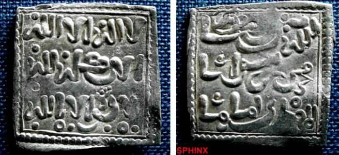 Ancient Coins - 472BM8) MUWAHHIDUN, CIRCA 6TH-7TH CENT AH / 12-13TH CENT AD, ANONYMOUS SQUARE SILVER DIRHAM NO MINT NO DATE *(SEE NOTE BELOW); Obverse reads : La Ilaha Illa Allah