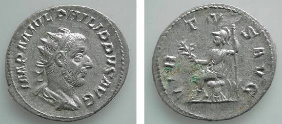 Ancient Coins - 08CL) PHILIP I, 244-249 AD, AR ANTONINIANUS, RSC-240a, RIC 53, IN VF+ COND, AND EXCELLENT METAL.