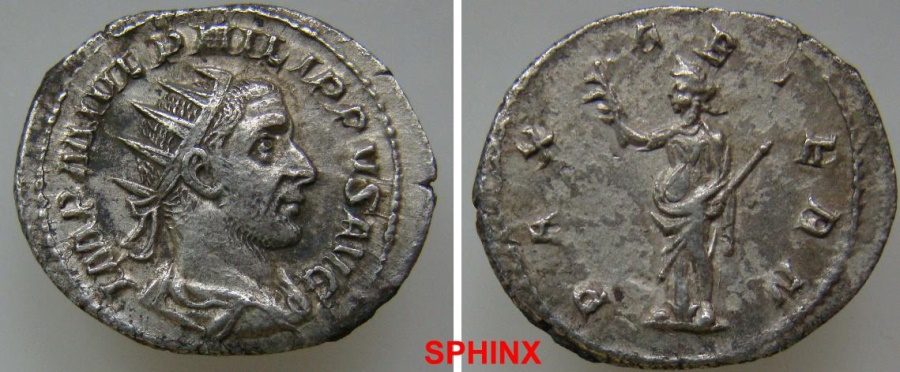 Ancient Coins - 447GG5) Philip II. AD 247-249. AR Antoninianus (23.5 mm, 3.91 g). Rome mint, 3rd officina. 7th emission, AD 247. Radiate,   draped, and cuirassed bust right / Pax standing left, EF