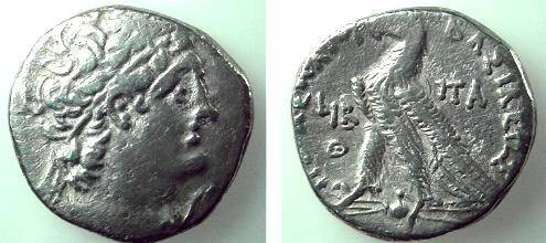Ancient Coins - 122SLC)  Greek.Egypt:Ptolemaic Kings; Ptolemy X and Cleopatra III (joint Reign, 106=101 BC).AR tetradrachm.28mm. Diaf. Head of Ptolemy I Soter right; eagle