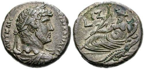 Ancient Coins - EGYPT, Alexandria. Hadrian. 117-138 AD. BI Tetradrachm (24mm, 12.82 gm). Dated RY 17 (132/3 AD). Laureate, draped and cuirassed bust right / Nilus reclining left, VF