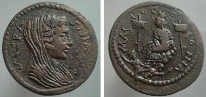 Ancient Coins - 300ER) Cilicia, Mallus. Time of Trajan Decius, circa 249-251 AD. Æ 31 mm (14.53 g). Veiled and draped bust of the Roman Senate right / City goddess seated on rocks left between two