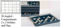 Ancient Coins - Stackable Coin Drawer - 20 Angled Compartments