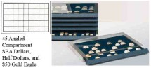 Ancient Coins - Stackable Coin Drawer - 45 Angled Compartments