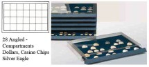 Ancient Coins - Stackable Coin Drawer - 28 Angled Compartments