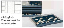 Ancient Coins - Stackable Coin Drawer - 49 Angled Compartments