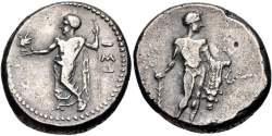 "Ancient Coins - CILICIA, ISSOS. Circa 390-385 BC. (AR Stater 10.54g  25.5mm 1h) ""APOLLO AND HERAKLES"" [EXTREMELY RARE Issos stater from Levante collection.] Stunning artistry! TONED VF."